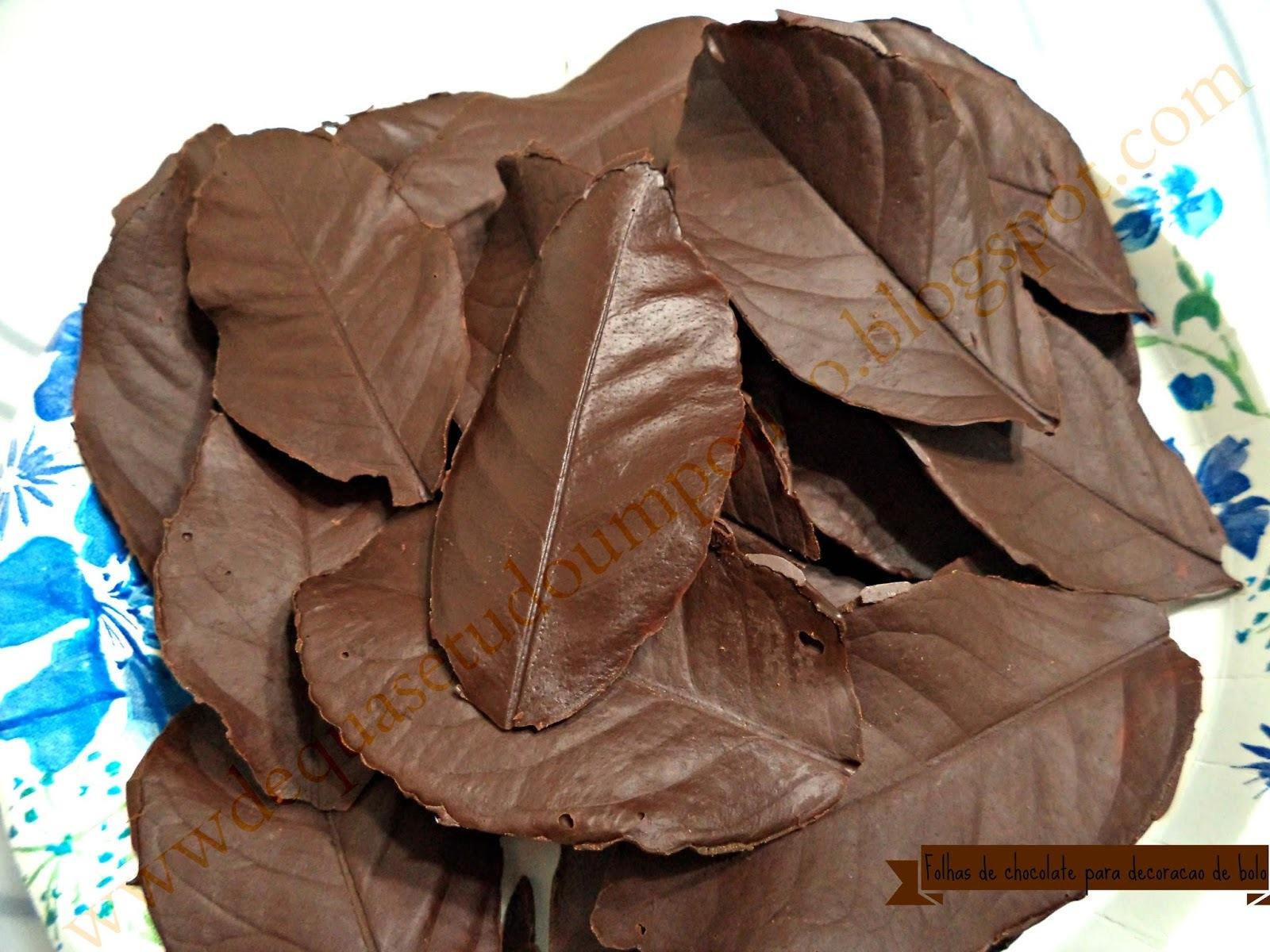 Folhas de chocolate para decoracao de bolo
