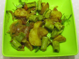 Parwal aur aloo ki sabzi /  Snakegourd and potato curry.