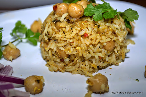 Achari Chole Pulav - pulav made with freshly roasted pickle spices