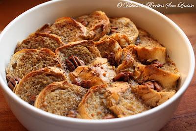 Bread Pudding com Açúcar Mascavo Sem Lactose