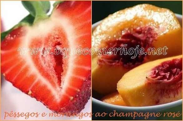 Sobremesas Rápidas: pêssegos e morangos ao champagne rosé