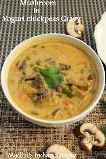 Mushroom Kadhi | Mushroom in Yogurt chickpeas Gravy