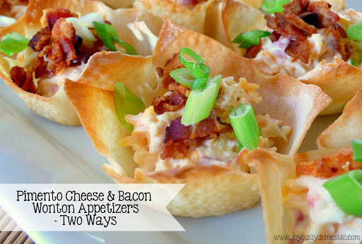 Pimento Cheese & Bacon Wonton Appetizers - Two Ways