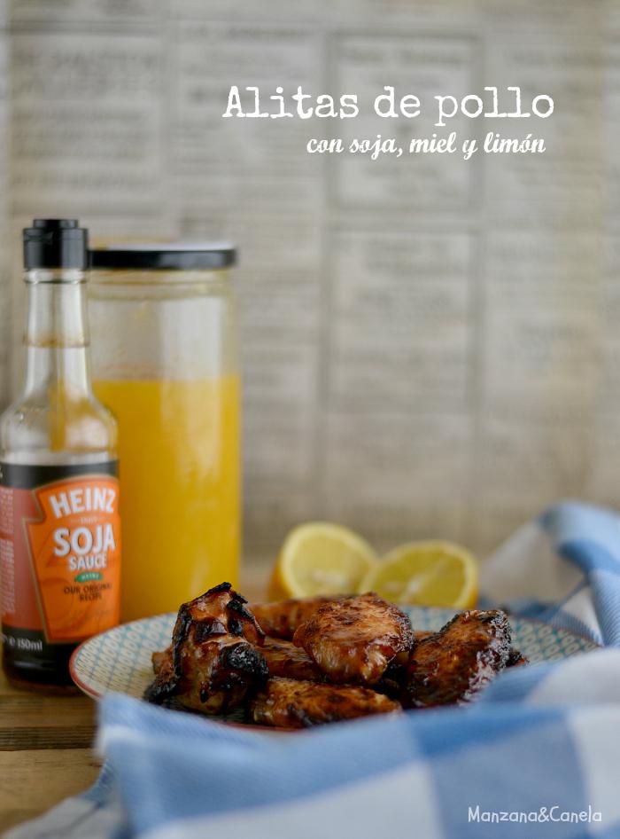 Alitas de pollo al horno, con soja, miel y limón