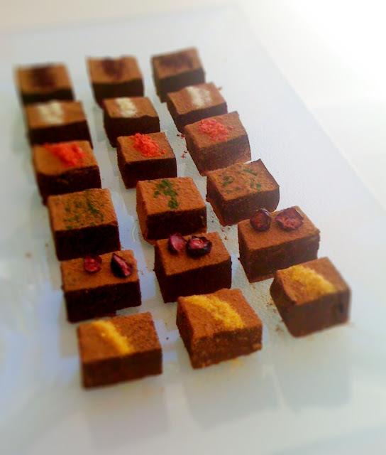 My best homemade chocolates so far: nama choco with fruit powders