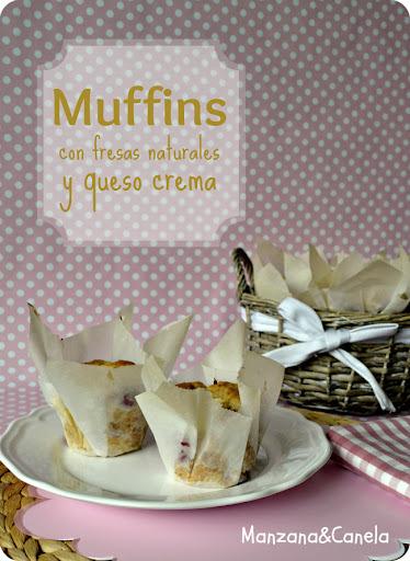 Muffins con fresas naturales y queso crema