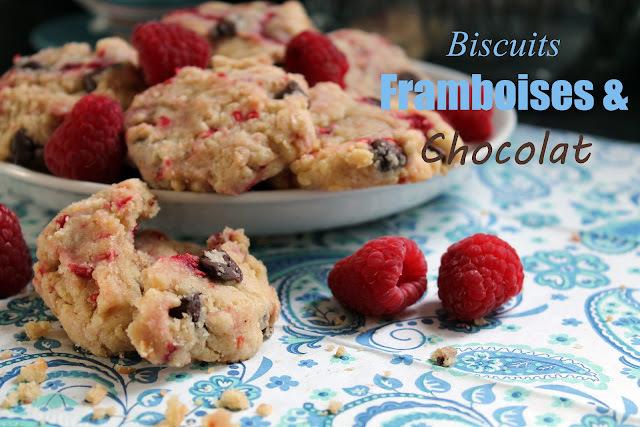 Biscuits moelleux aux framboises et chocolat
