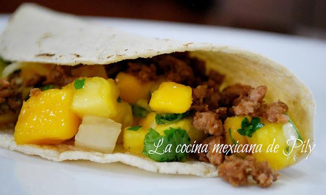 Salsa de mango y piña para  tacos de...