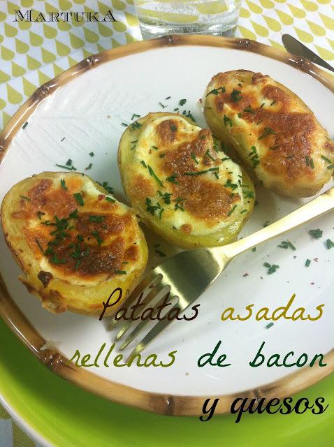 Patatas Asadas Rellenas De Bacon Y Quesos