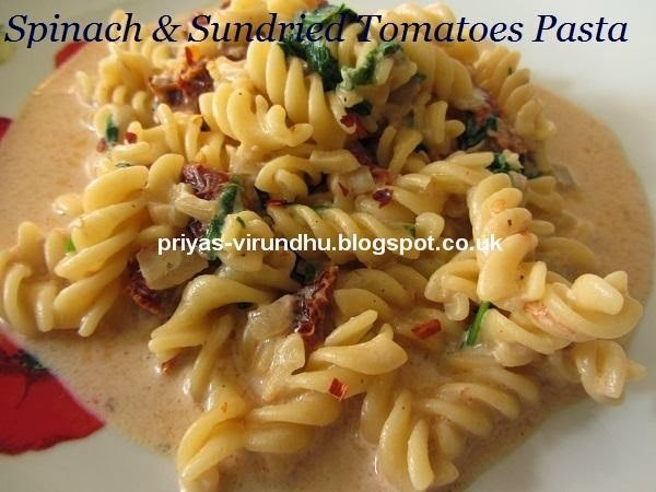 Spinach & Sundried Tomatoes Pasta