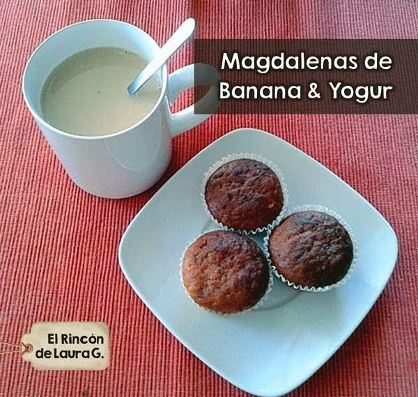 Receta de Magdalenas de Plátano y Yogur • Muffins de Banana y Yogur