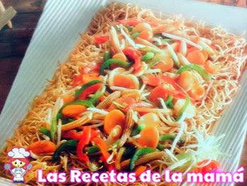 Receta de Chow mein con verduras