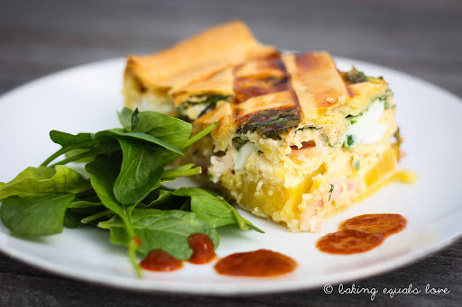 It's that time again: Bacon and Egg Pie with Kumara and Caramelized Onions