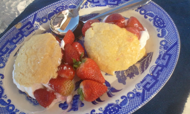 strawberries  polenta shortcakes