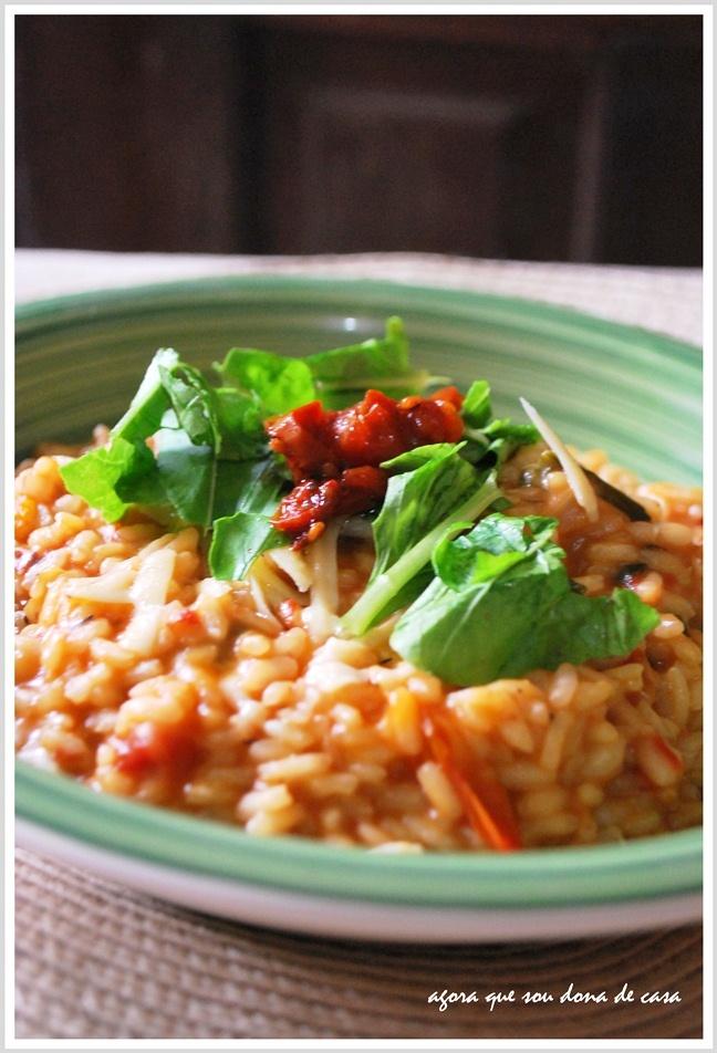 risoto de rúcula com tomates secos: o primeiro em terras baianas