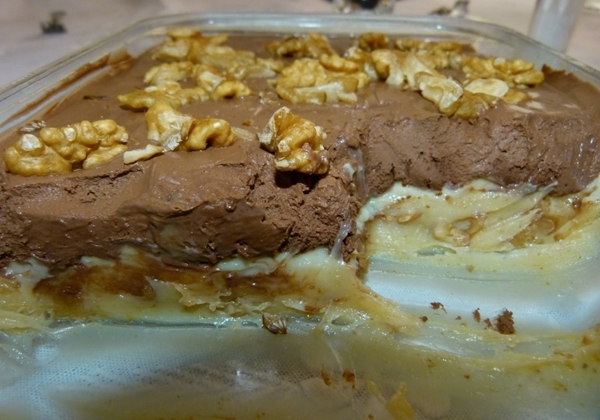 torta gelada de nozes com doce de leite