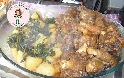 Rabadas com batatas e agrião