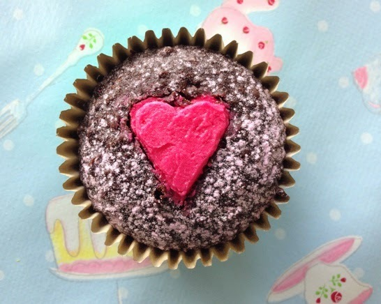 Valentines day - open heart cupcakes