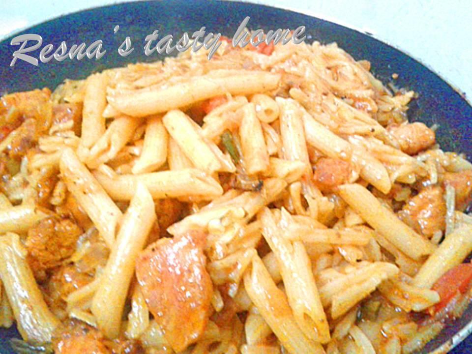 Indian style tomato cheese pasta
