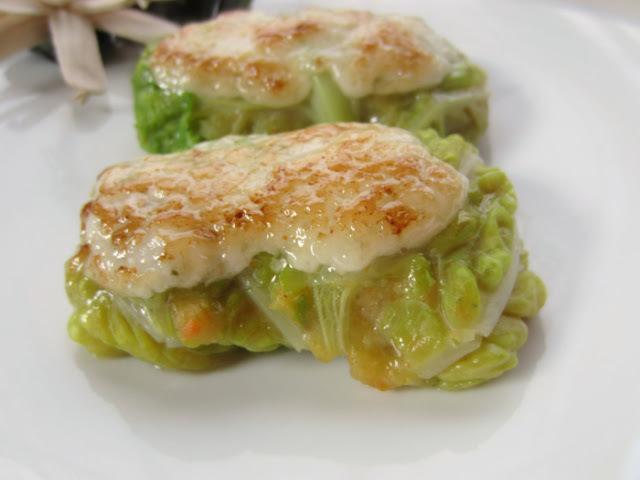 Farcellets de col farcits de rap amb verdures i gratinats amb allioli