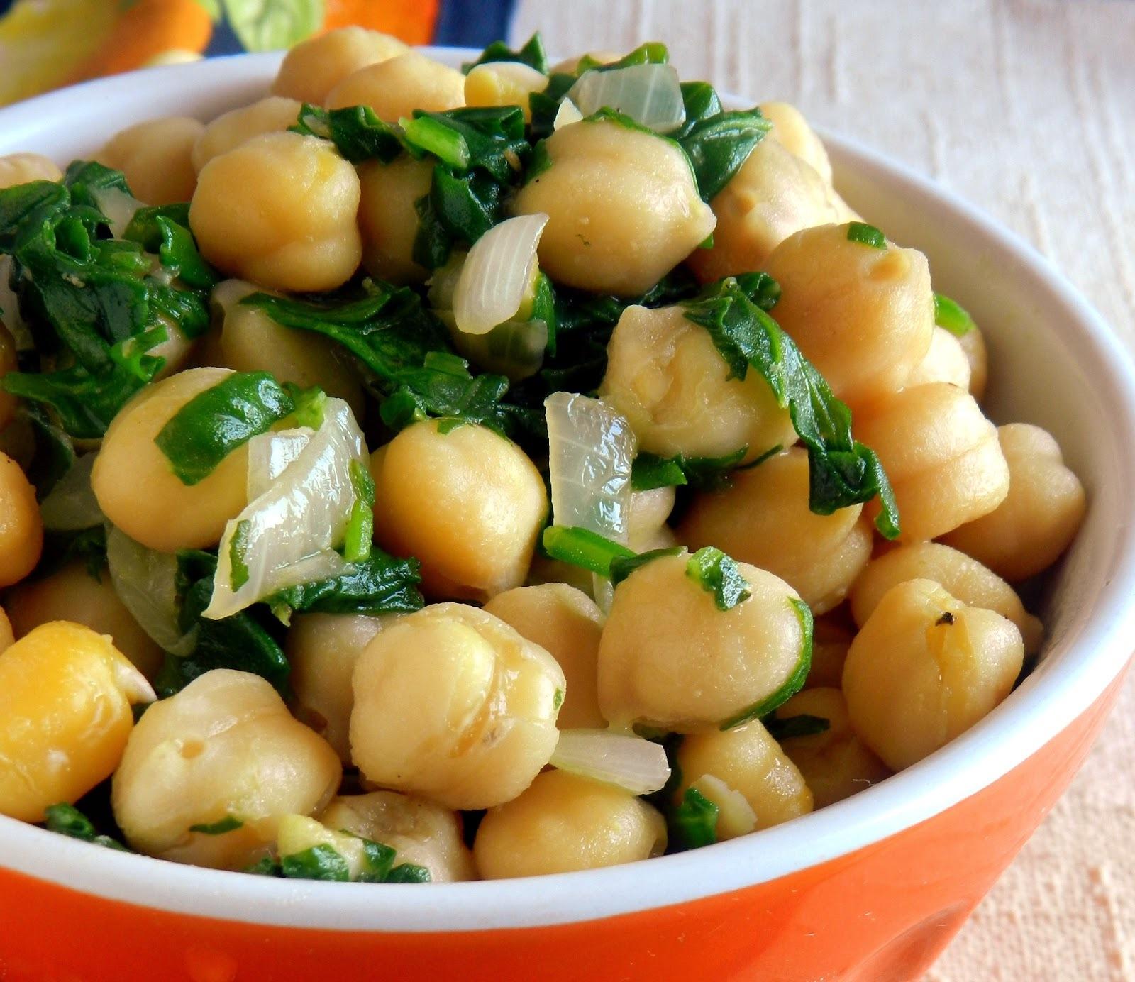 Salada quente de grão-de-bico e espinafre #segundadasalada