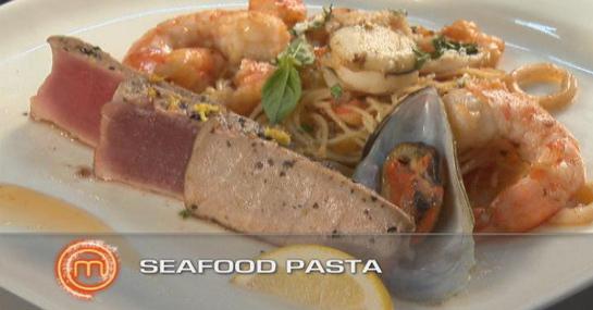 Seafood Pasta with Seared Tuna