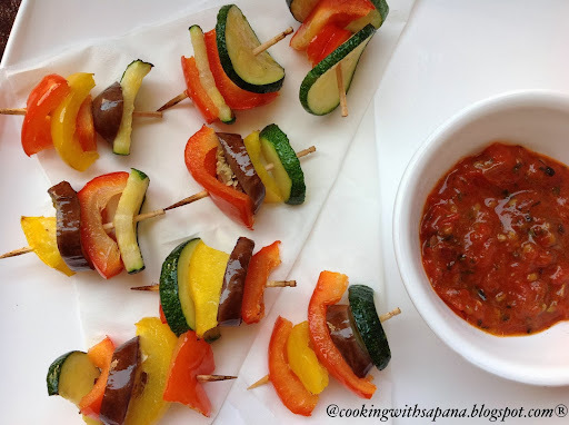 Ratatouille Kebabs -2nd guest post by Sapana Behl