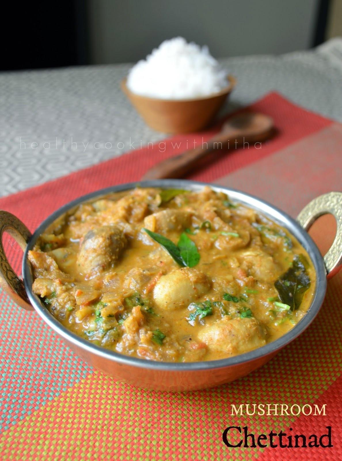 Mushroom Chettinad | Spicy Mushroom gravy