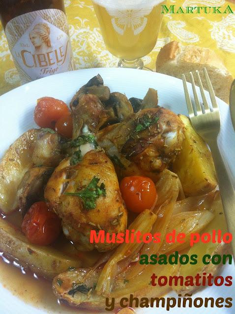 Muslitos De Pollo Asados Con Tomatitos Y Champiñones