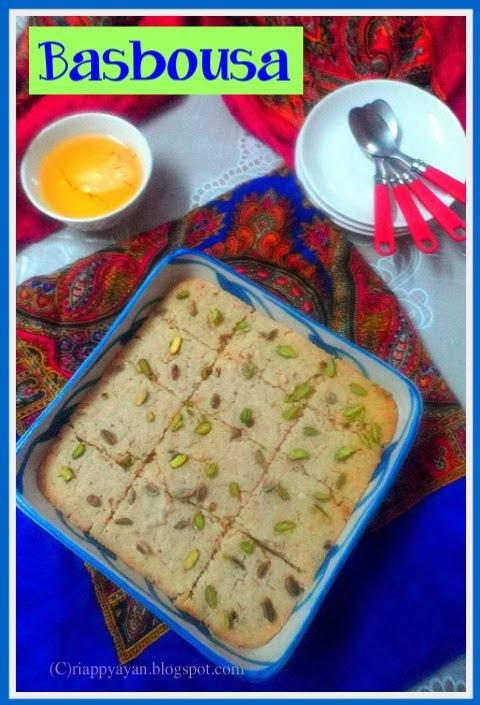 Basbousa ~ A Middle-Eastern Sweet Semolina Cake