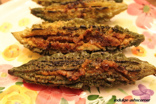 Stuffed Karela/Bitter Melon/Gourd-- Guest post for Chef Kavi and her CWK Series