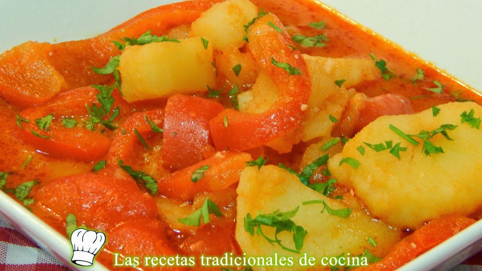 Patatas guisadas con pimientos, receta fácil