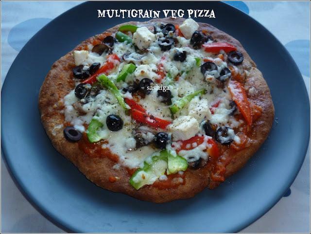 மல்டிக்ரேயின் வெஜ் பிஸ்ஸா/Yeast Free Multigrain Veg Pizza For HBC  -1