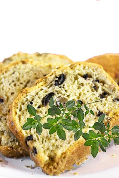 Pão com Azeitonas Pretas e Ervas