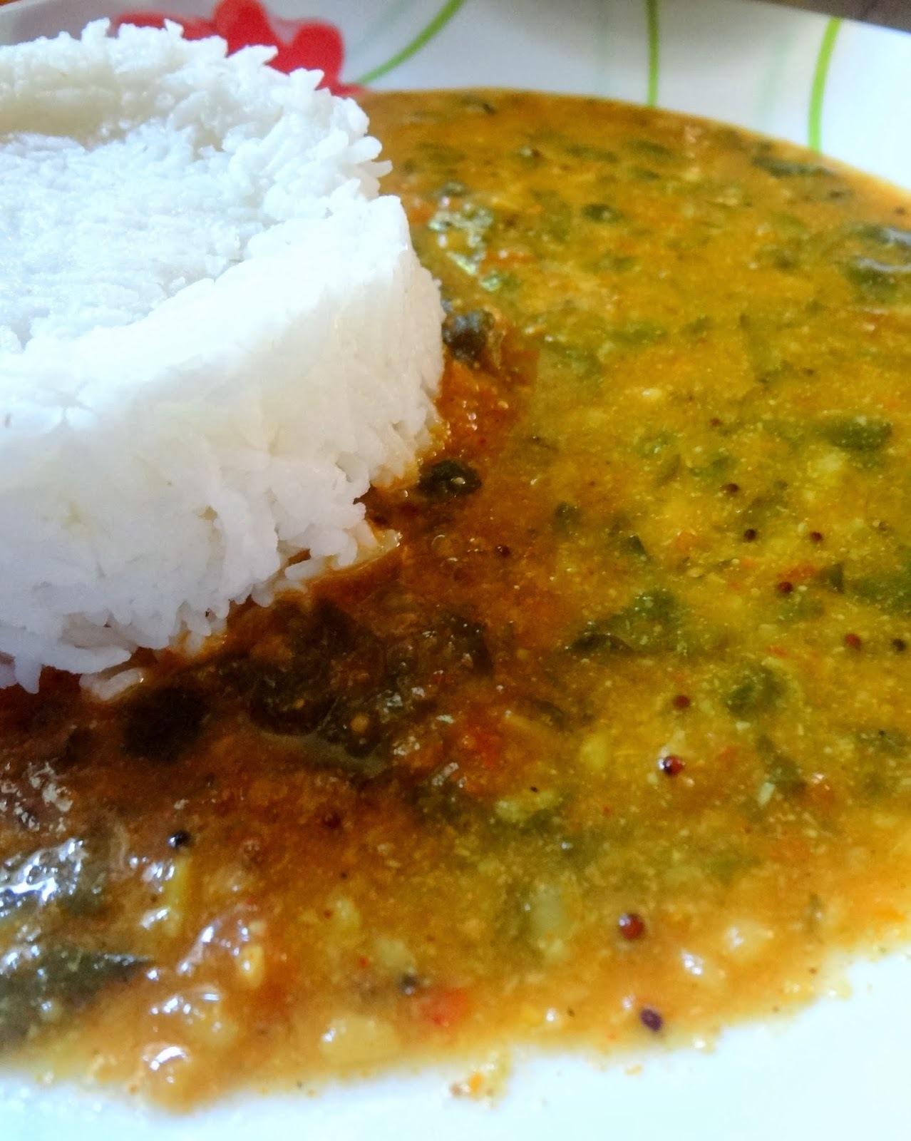 Methi Sambar  ( Fenugreek leaves  sambar )