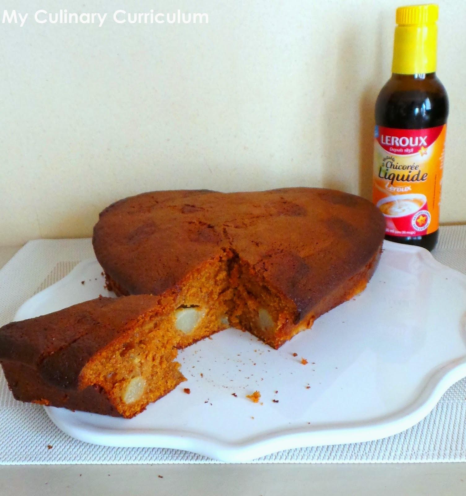 Gâteau à la chicorée et à la poire (Cake with chicory and pear)