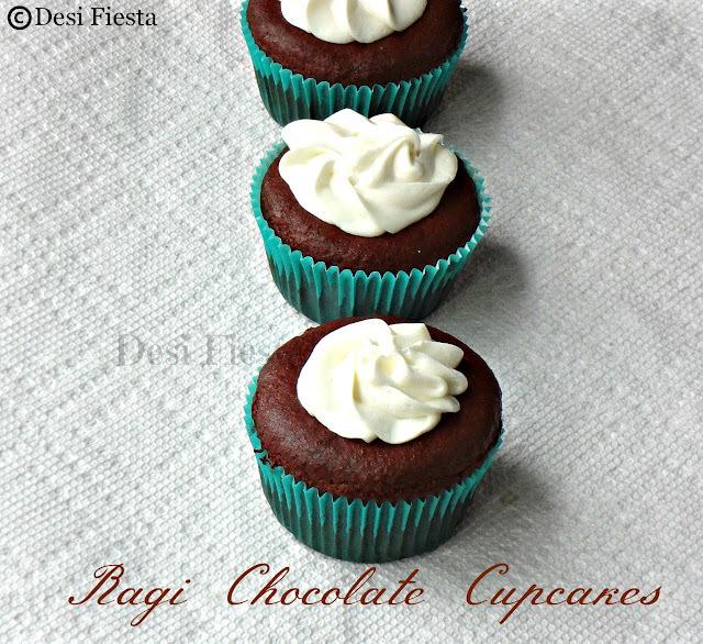 Eggless Ragi chocolate cupcakes
