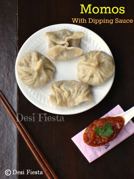 Momos ( Veg) with Dipping Sauce - Nepali style