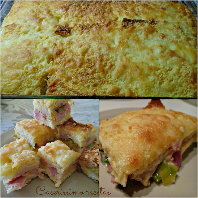 PASTEL FRANCÉS (pan, quesos,  puerros, panceta, jamón y huevos)