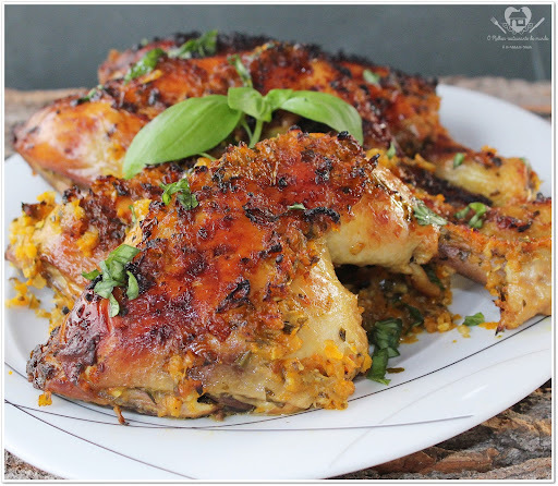 coxa e sobrecoxa de frango assado forno laranja mostarda