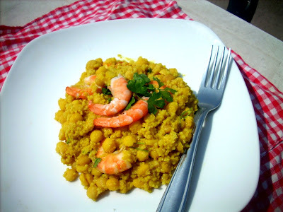 chickpeas with couscous and shrimp