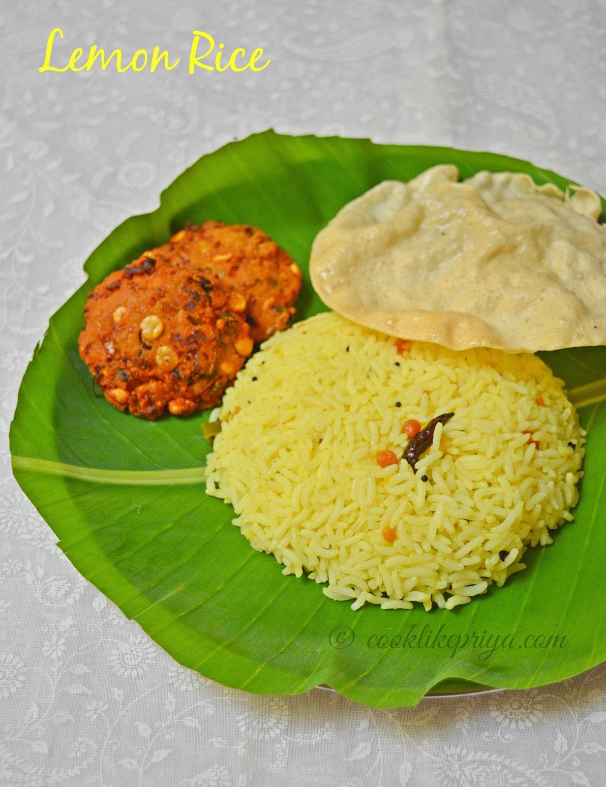 South Indian Lemon Rice | Nimmakaya Pulihora