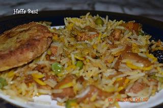 Vegetable biryani (Aalo matar biryani)