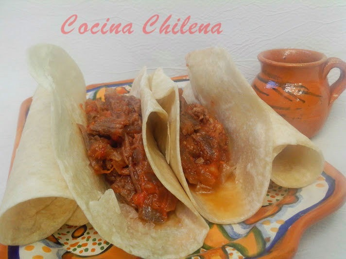 TACO DE CARNE DE  VACUNO ,,cocina mexicana