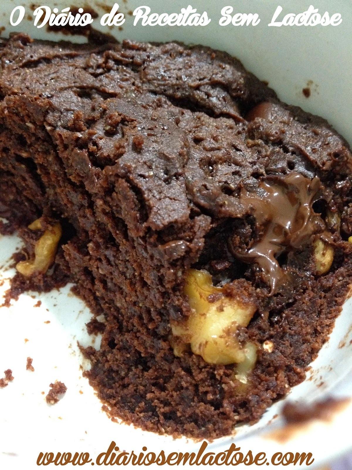 Brownie de Caneca Sem Glúten, Sem Lactose, Sem Ovo