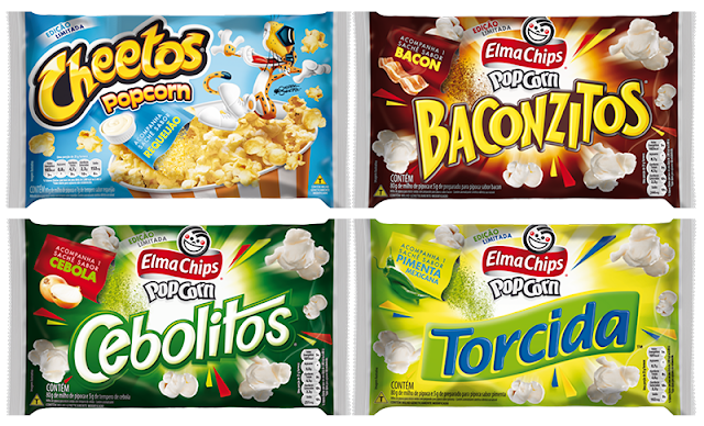 QUERO TODOS:  Elma Chips lança pipoca de micro-ondas sabor Cheetos, Baconzitos, Cebolitos e Torcida!