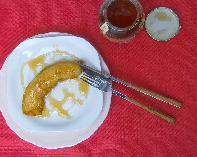 Plátano Frito con Miel en 5 minutos.