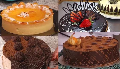 de torta gelada de biscoito maisena chocolate e pessego