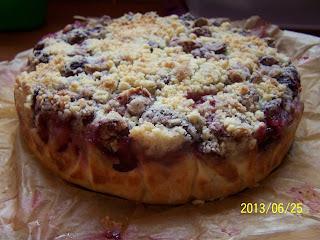 Meggyes - túrós - morzsás sütemény (diabetikus)