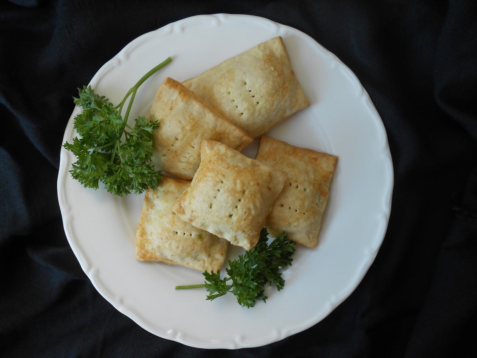 Cuadrados de espinaca, jamón y queso crema